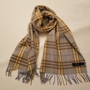 Authentic Burberry 100% Cashmere Blue Check Scarf